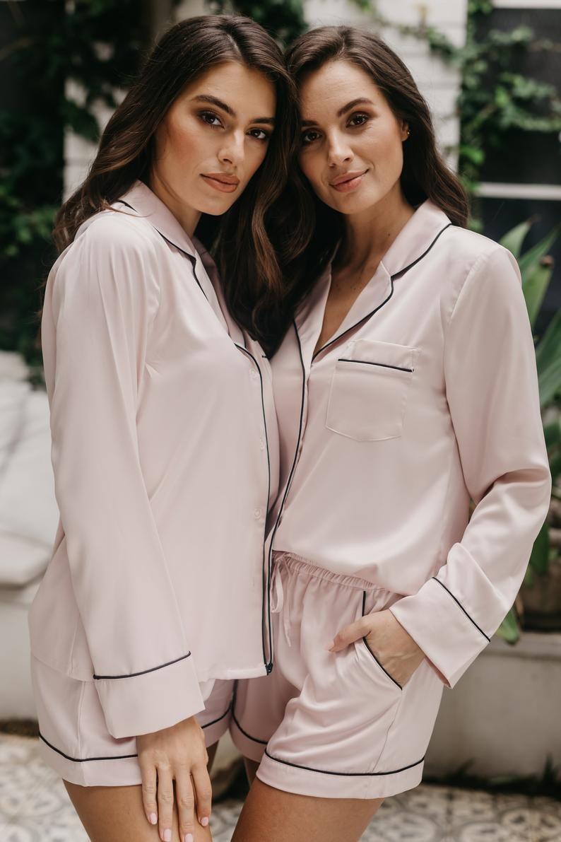 Rose Gold PJ/'s Bachelorette Girls Piped Detail Bride Loungewear Wedding Gifts Hen Party Pyjama Shorts Satin Set Bridesmaid Nightwear