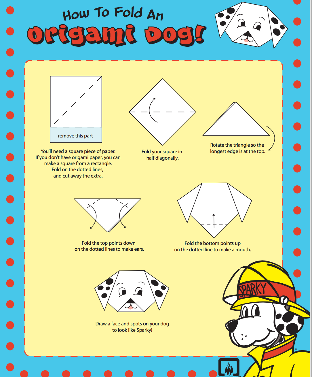 How to Make an Origami Sparky the Fire Safety dog for Fire
