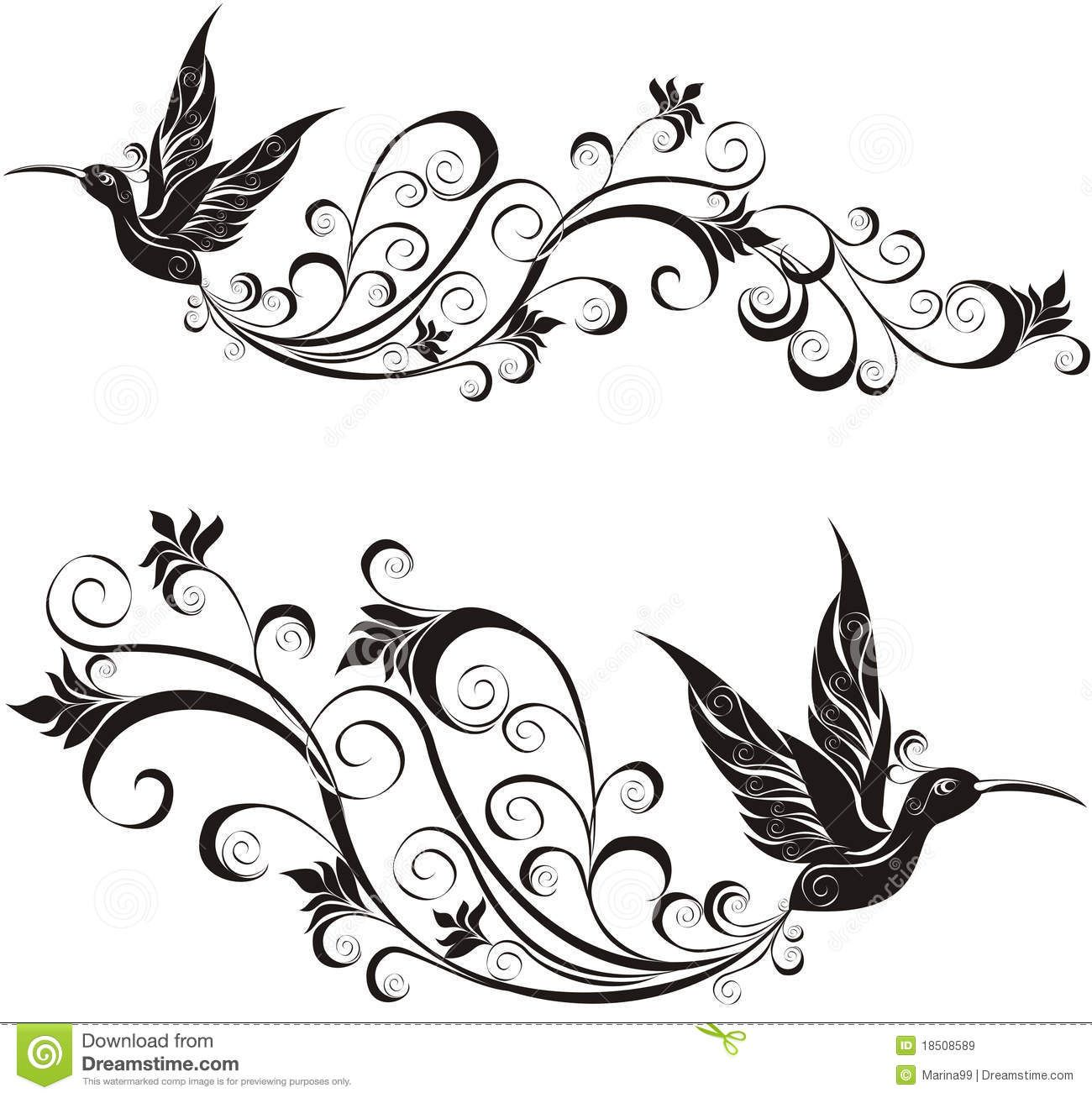 Birds Tattoos Illustrations: Hummingbird. Vector Illustration Royalty Free Stock Images