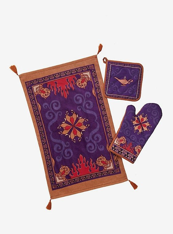 Disney Aladdin Magic Carpet Oven Mitt Dish Towel Set #disneykitchen