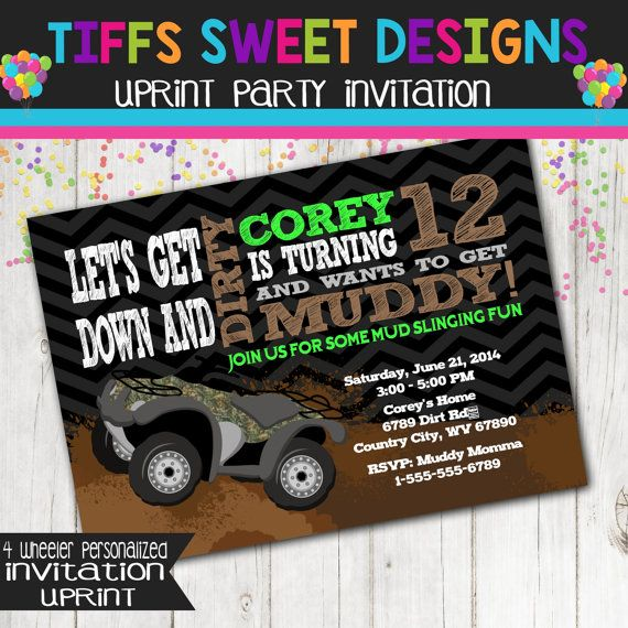 4 Wheeler Birthday Party Printable Invitation By TiffsSweetDesigns