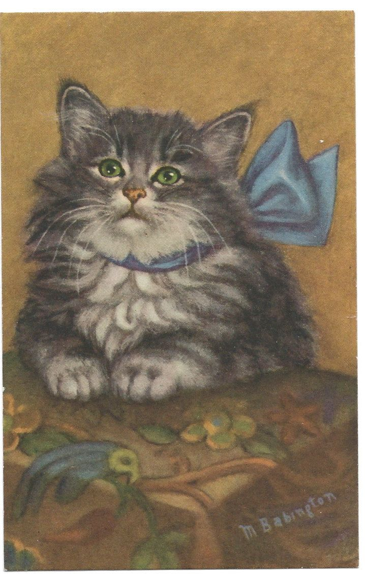 Adorable Cat with Blue Bow Mainzer Postcard. $5.00, via Etsy.