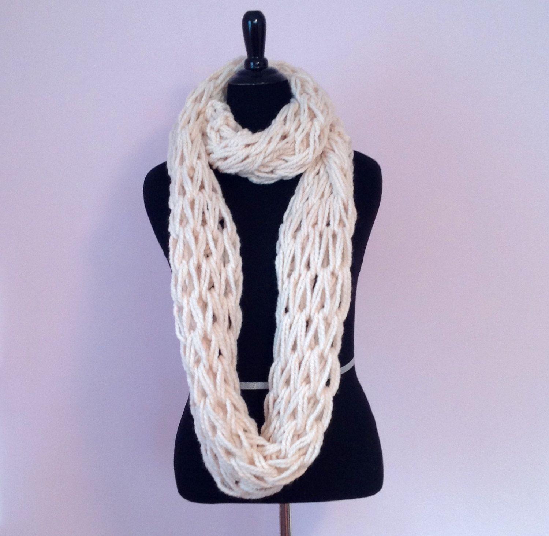 Cream infinity scarfoff white infinity by knittildawn on