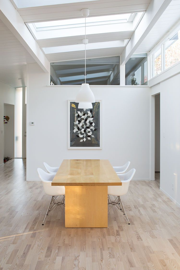 Eichler dining room remodel with Room & Board dining table and pendant lights