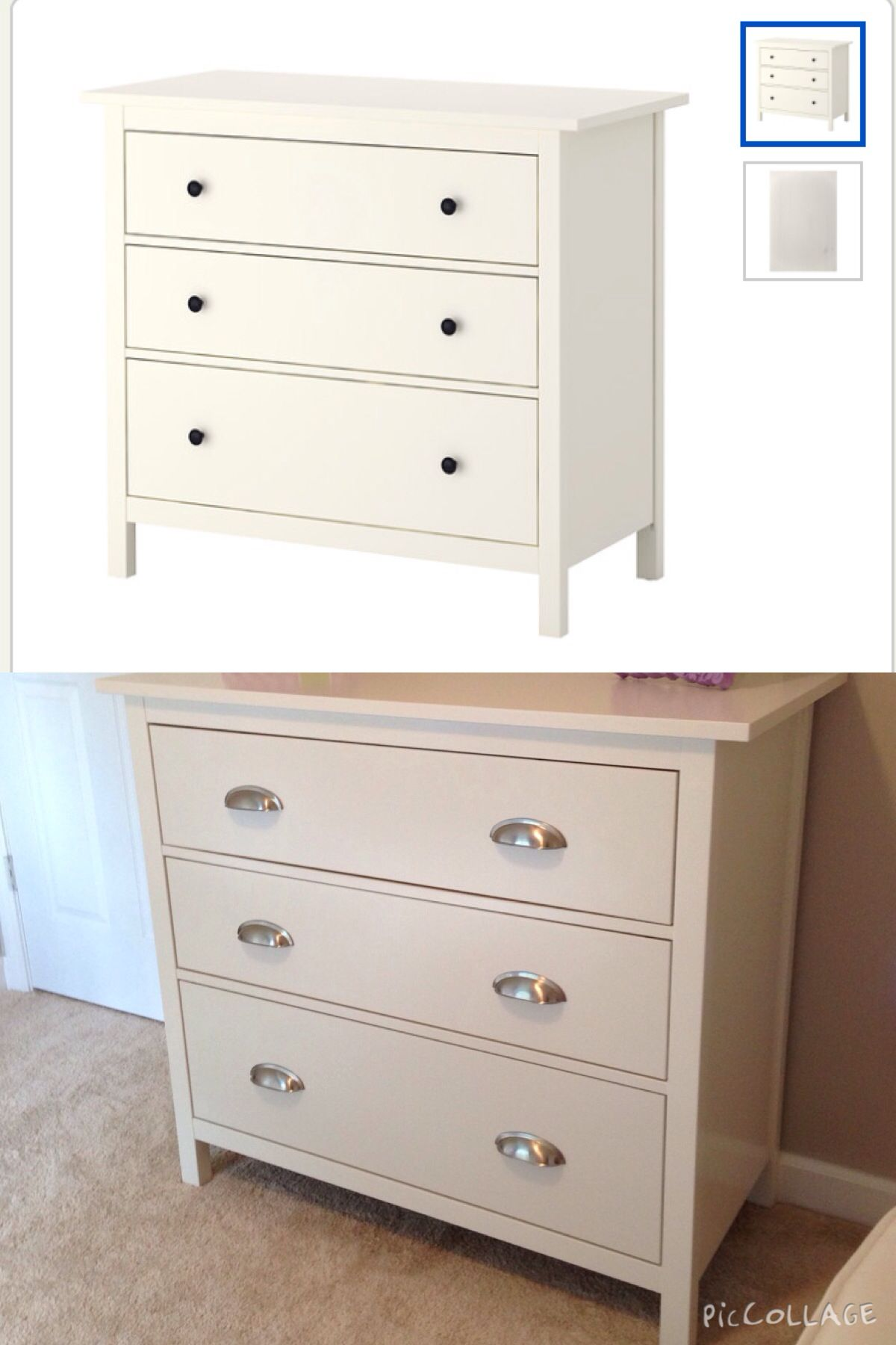 Before and after updated knobs hardware IKEA Hemnes 3 drawer white dresser with updated