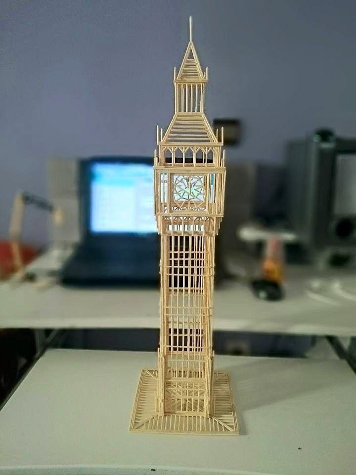 Big Ben Clock Tower Made Out Of Toothpicks Toothpick Sculpture Big Ben Model Matchstick Craft