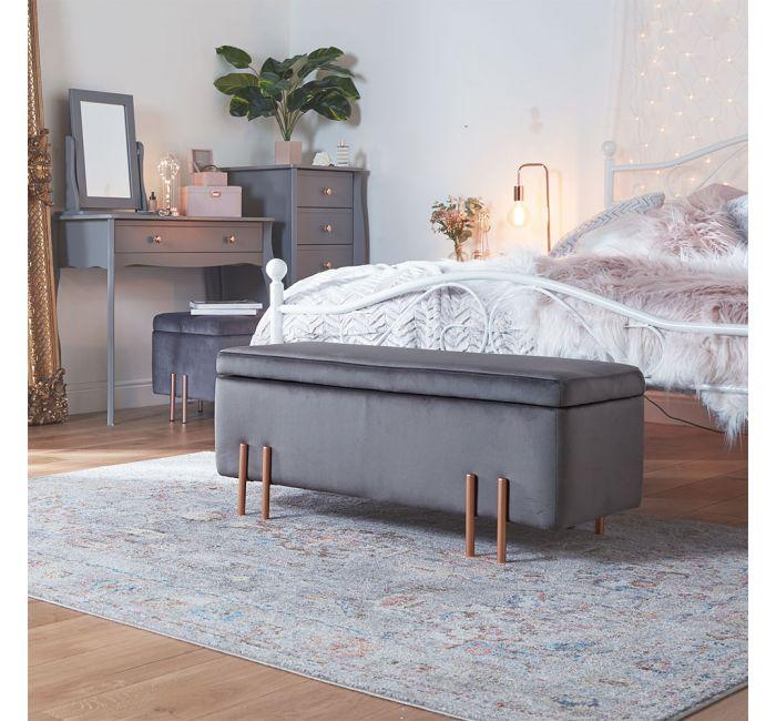 Grey Velvet Storage Ottoman Bench In 2020 Storage Bench Storage Ottoman Bench Statement Furniture Pieces