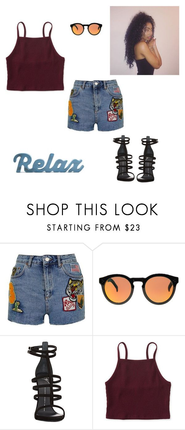 """Untitled #275"" by larauknow ❤ liked on Polyvore featuring Topshop, Illesteva, Giuseppe Zanotti and Aéropostale"