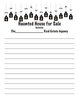 Haunted House For Sale October Writing Prompt Halloween Activitie And Craft Persuasive Essay