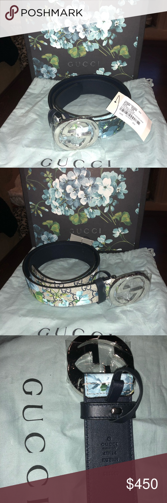 a75016741 FIRM NIB AUTH Gucci GG Supreme belt blue blooms 90 New in box & with tags