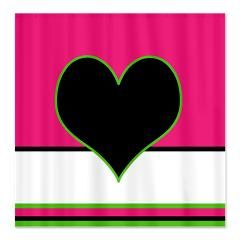 Black Heart On Pink Shower Curtain Curtains With Hearts By EML At Circusvalley Showercurtains