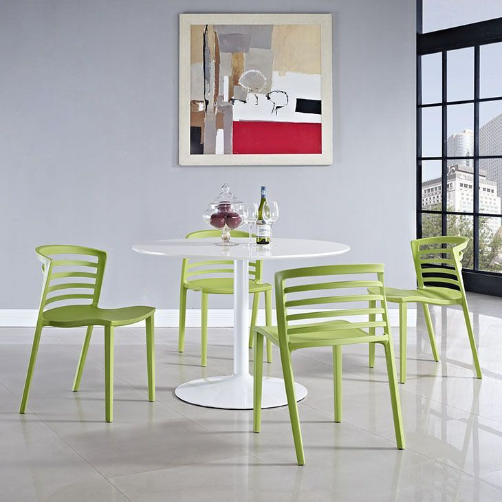 Curvy Dining Chairs Set of 4, Green - Indulge in no-frills