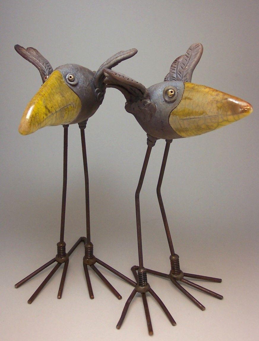Wildmud Pottery And Sculpture: Two Raku Birds   Art - Bird Art ...