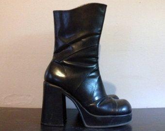 113ded6f2275 Vintage 90s Black Platform Boots 1990s Black Platform Shoes Chunky Heel Faux  Leather Goth Grunge Cyber Punk Club Kid Euro 39 US Womens 8 8.5