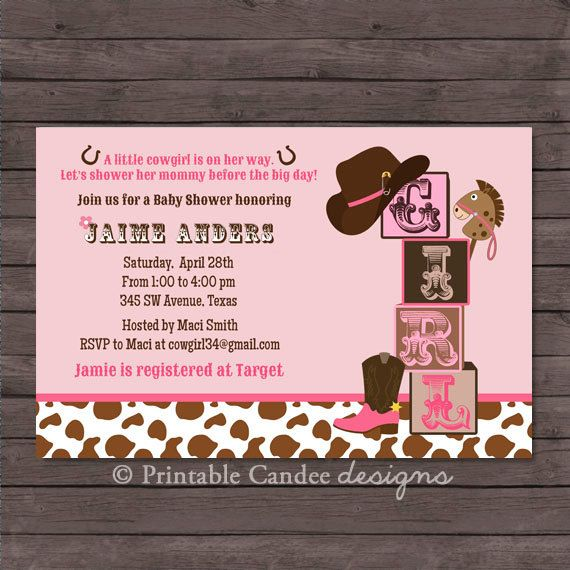 Cowgirl Baby Shower Invitation   Cowgirl Baby Shower   Western Baby Shower    Rustic Baby Shower   Printable Cowgirl Baby Shower