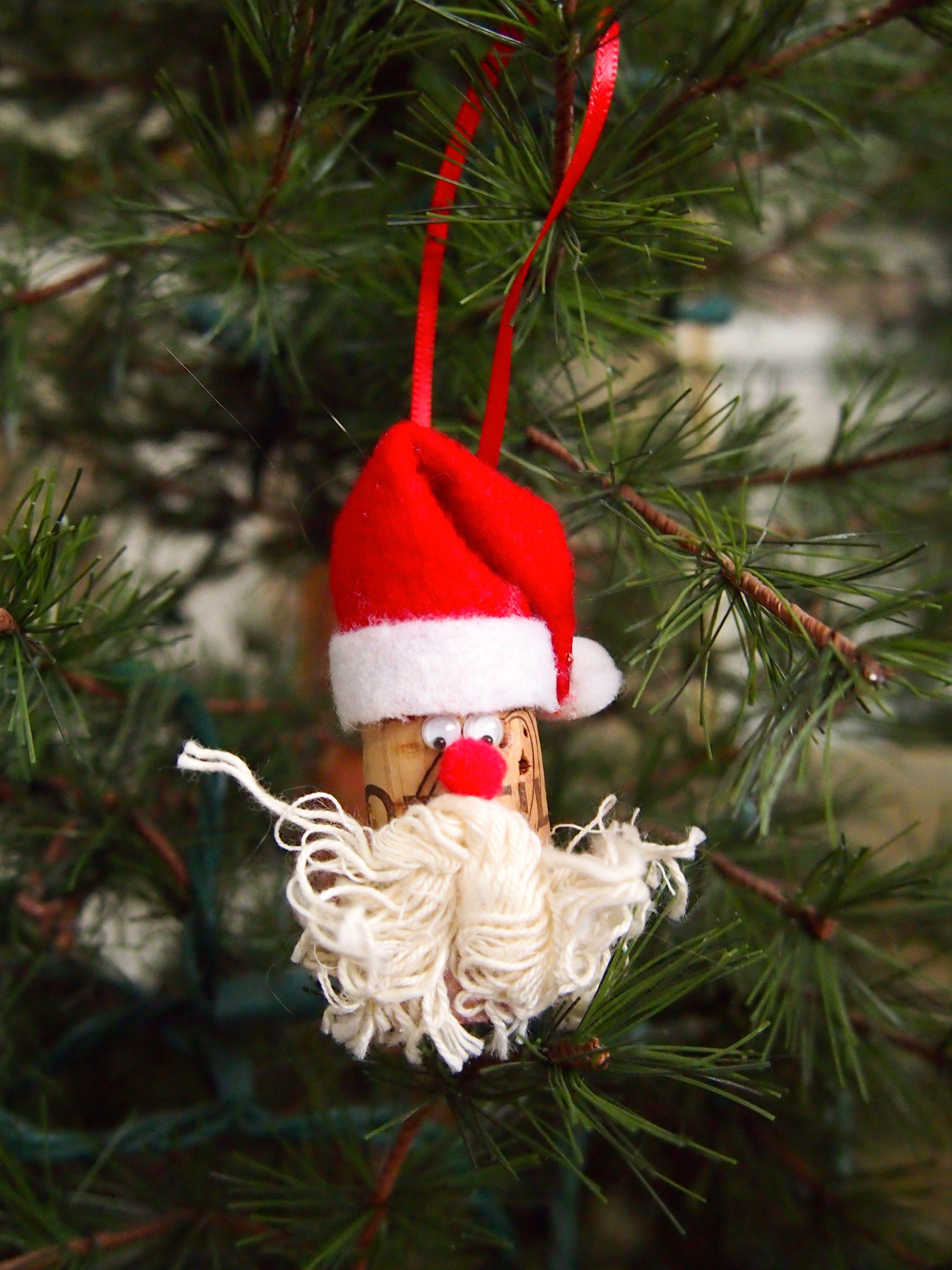 Wine Cork Santa Ornament Wine Cork Ornaments Cork Crafts Christmas Christmas Cork Ornaments
