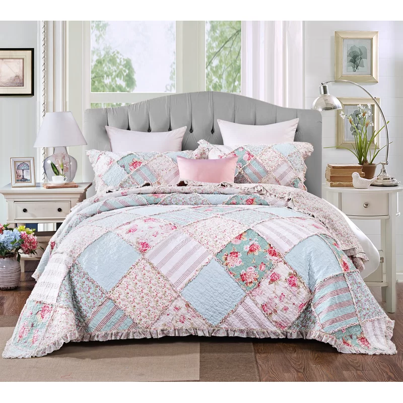Jalyn Ruffle Reversible Coverlet Set in 2020 Bed spreads