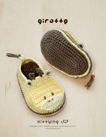 Giraffen-Baby Booties Häkelmuster PDF | Socken häkeln, Babyschühchen ...