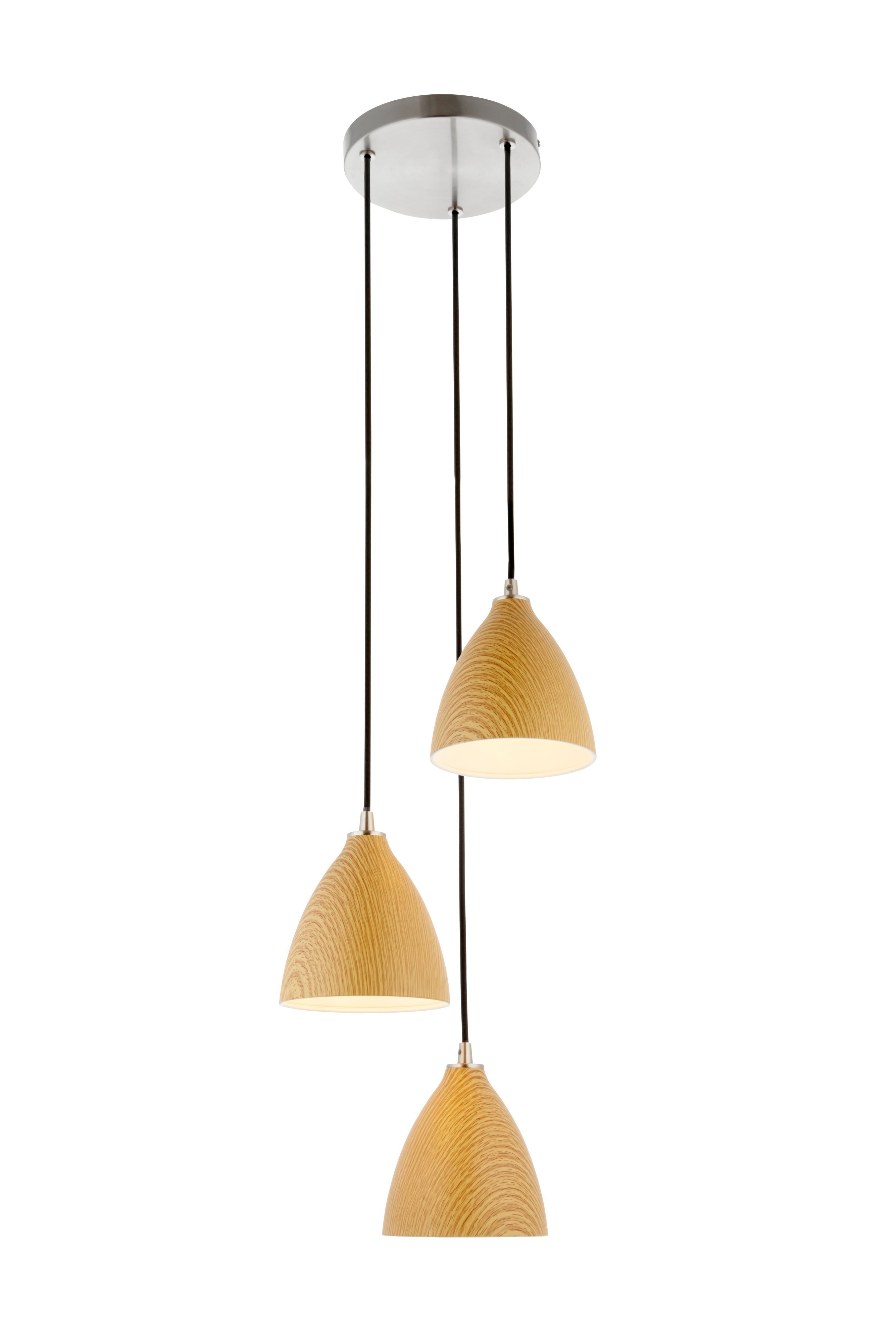 Elway Wood Effect & Brushed Chrome Effect 3 Lamp Pendant Ceiling ...