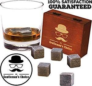 Set Of 9 Whiskey Stones Granite Chilling Rocks With Velvet Bag And Wooden Box Kitchen, Dining & Bar Home & Garden