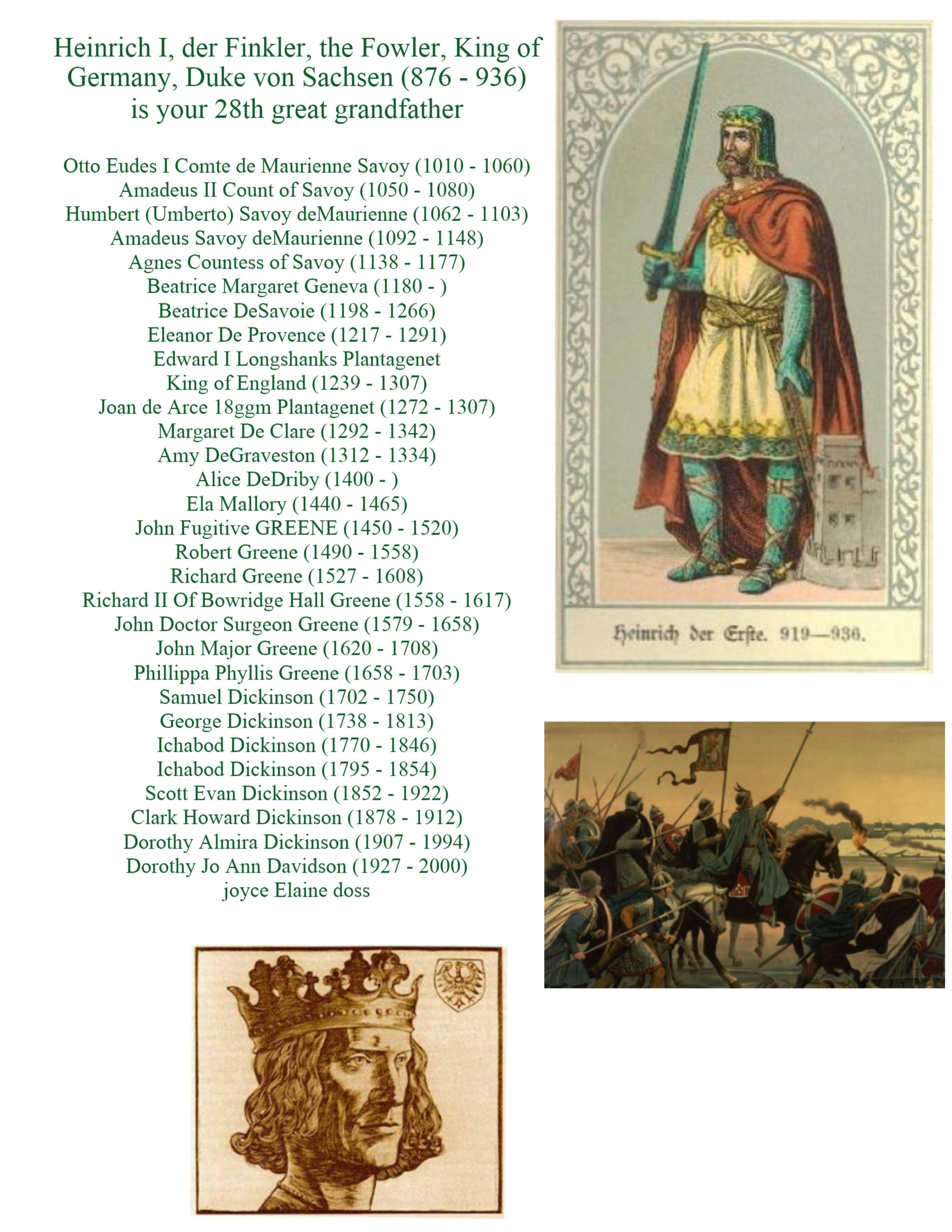 876 King Heinrich I The Fowler Of Germany Year 700 To