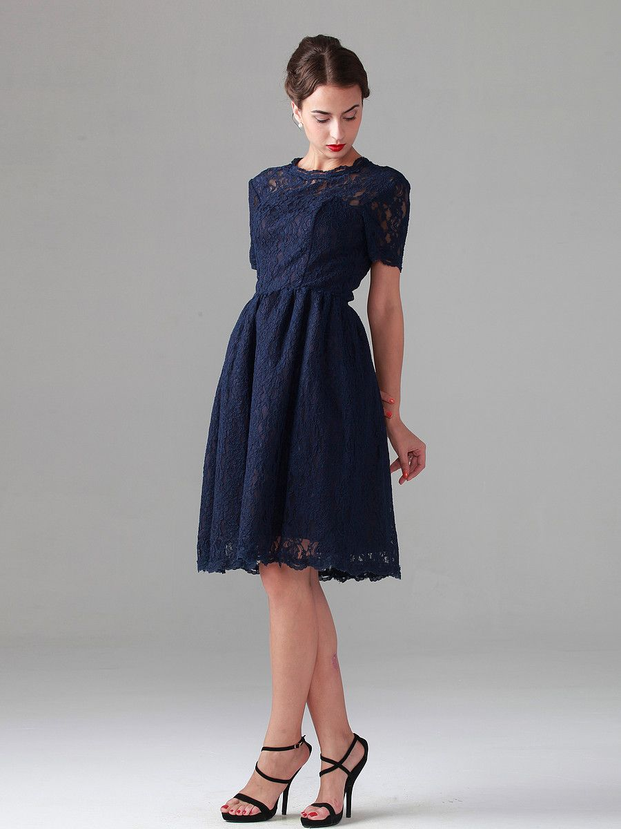 Elbow Sleeved Lace Dress With Ruffled Skirt