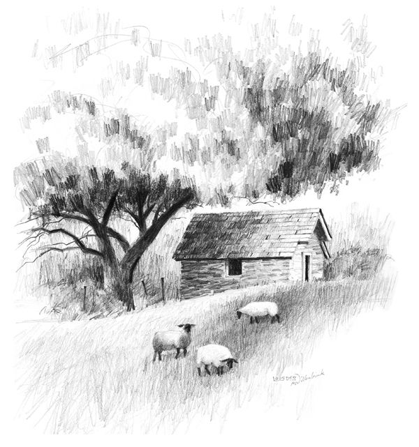A landscape drawing lesson and free caran dache pencils