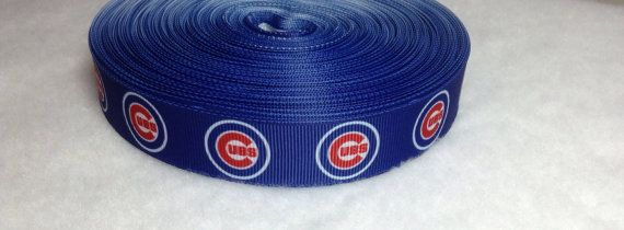 5 Yards of Chicago Cubs Grosgrain Ribbon 7/8 by DesignDanico