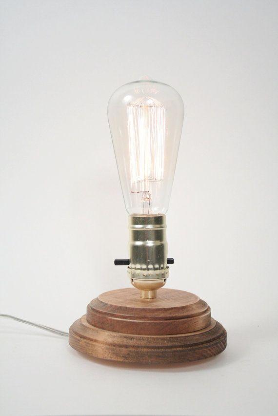 Pedestal Lamp I Minimalist Table Lamp Exposed Edison Bulb Lighting Natural Oak Edison Light Bulbs Lamp Minimalist Tables