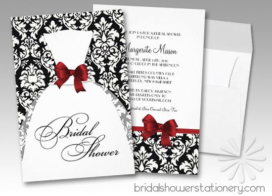 Red And Black Wedding Invitations Templates: Black And White Damask Red Bow Bridal Shower Invitations