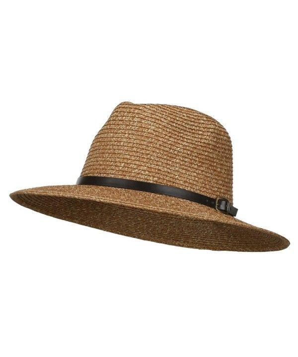 0c27ca58f7fe8 Men s Large Brim with Belt Fedora Brown CA11WYQ8XBD - Hats   Caps