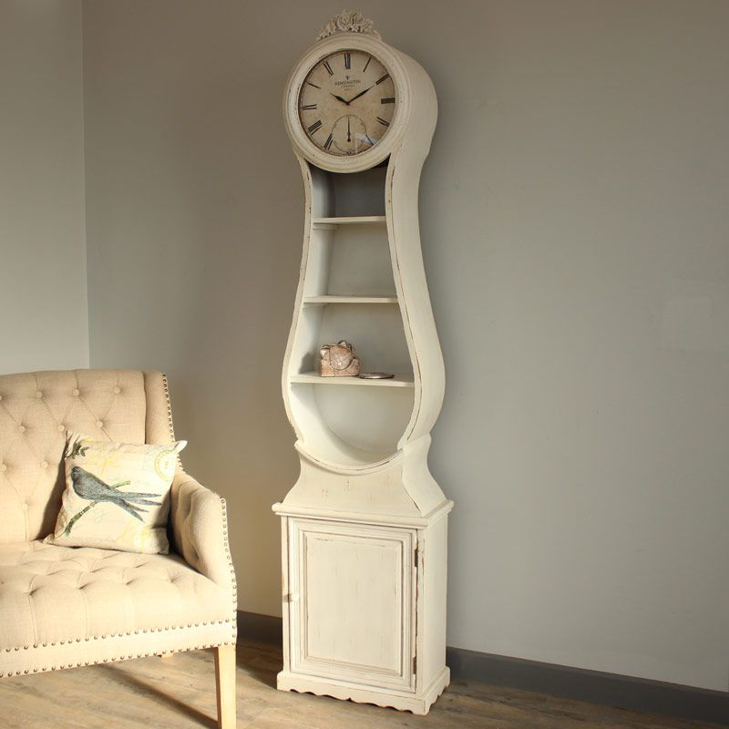 Genial Antique Cream Grandfather Clock With Storage In A Antique Cream Colour With  A Heavily Distressed Finish Features A Distressed Clock Face With Roman  Numerals ...
