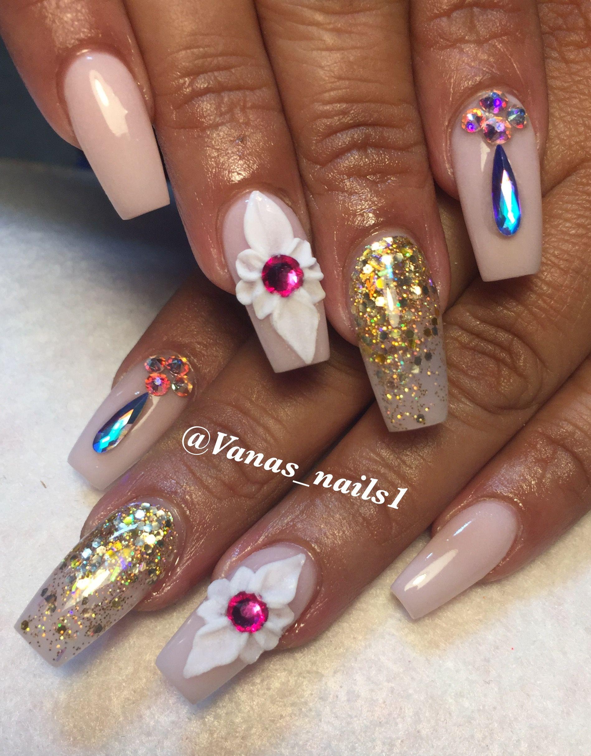 Nude nails 3d flower Swarovsky gold acrylic nail design | Vana\'s ...