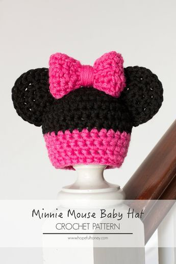 Newborn Minnie Mouse Inspired Hat Crochet Pattern | Minnie mouse ...