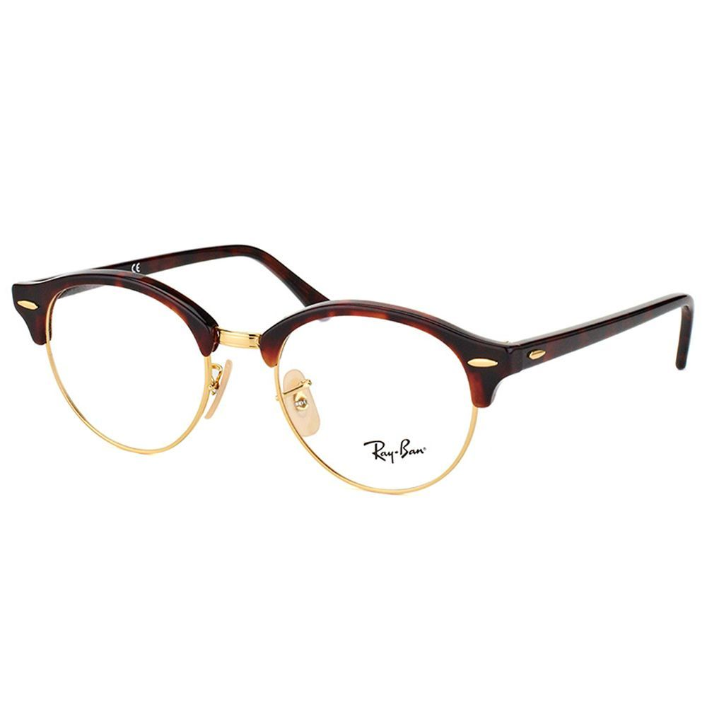 e24f33bdb5 Ray-Ban RX 4246V 2372 Clubround Red Havana And Gold Plastic Clubmaster 49mm  Eyeglasses (Red Havana And Gold)