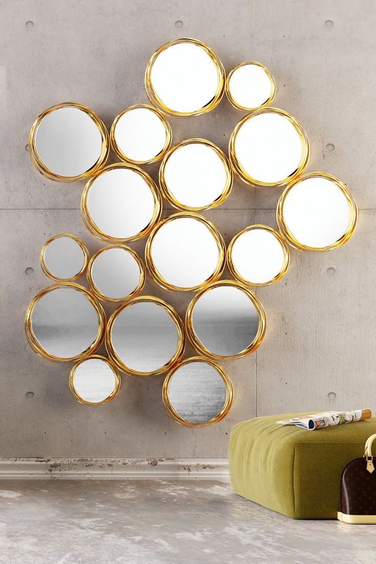 ... sense of light and space and available in a range of finishes to taylor to your own personal interior design. The Exclusive Gold Leaf Mirrored Wall Art ... & Exclusive Gold Leaf Mirrored Wall Art | Round mirrors Ranges and Leaves