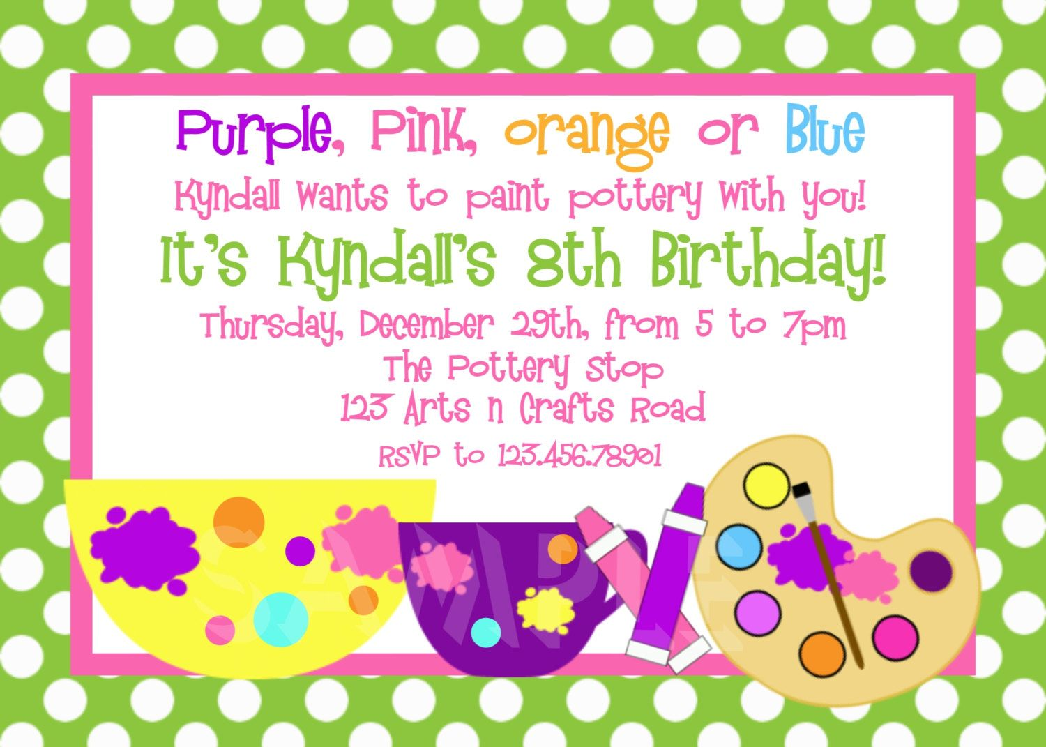 Arts and Crafts Birthday Party Invitation Pottery Birthday Party ...