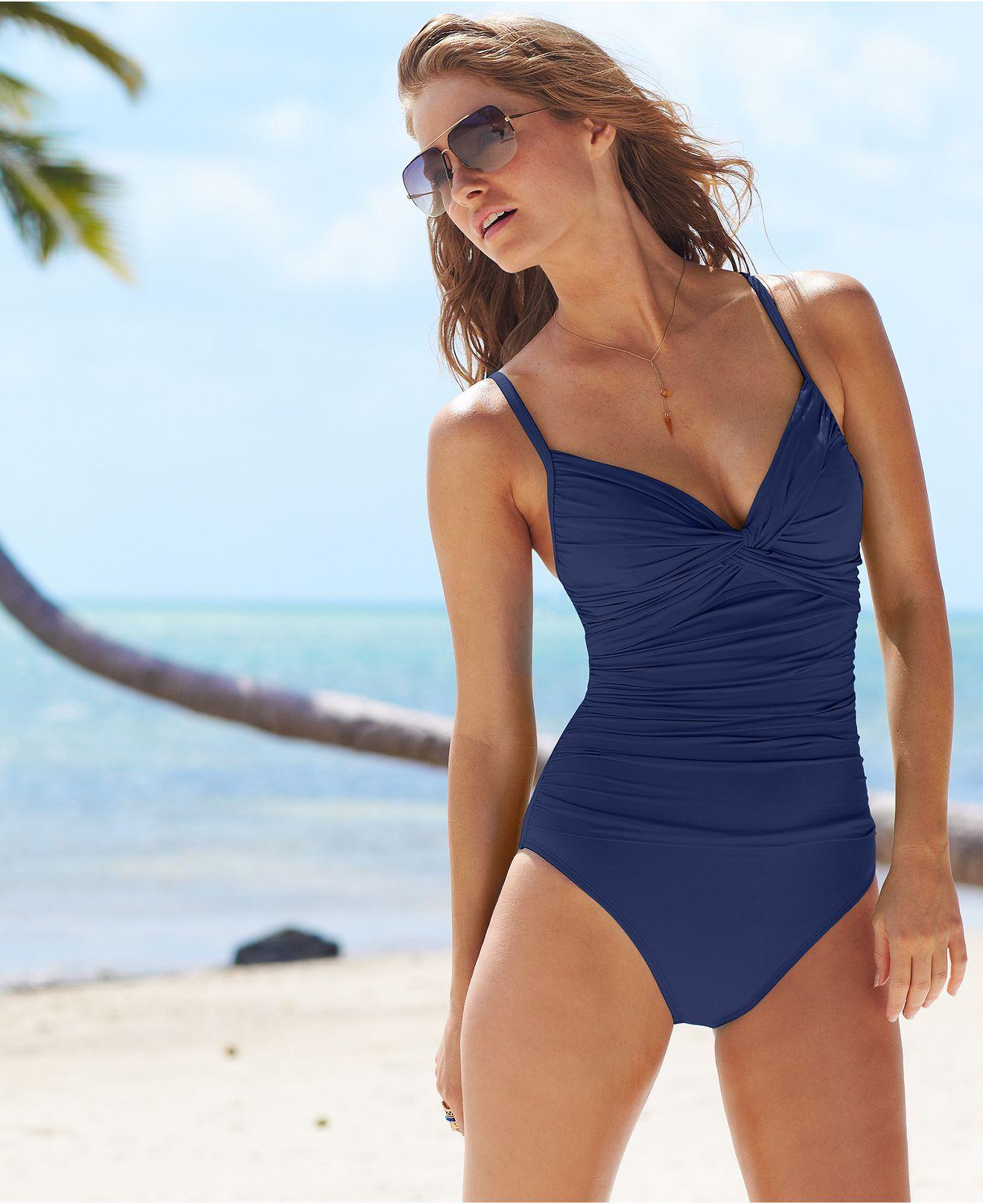 3d98ad486b8c8 La Blanca Swimsuit, Twist-Front Ruched Push-Up One-Piece - Swimwear - Women  - Macys