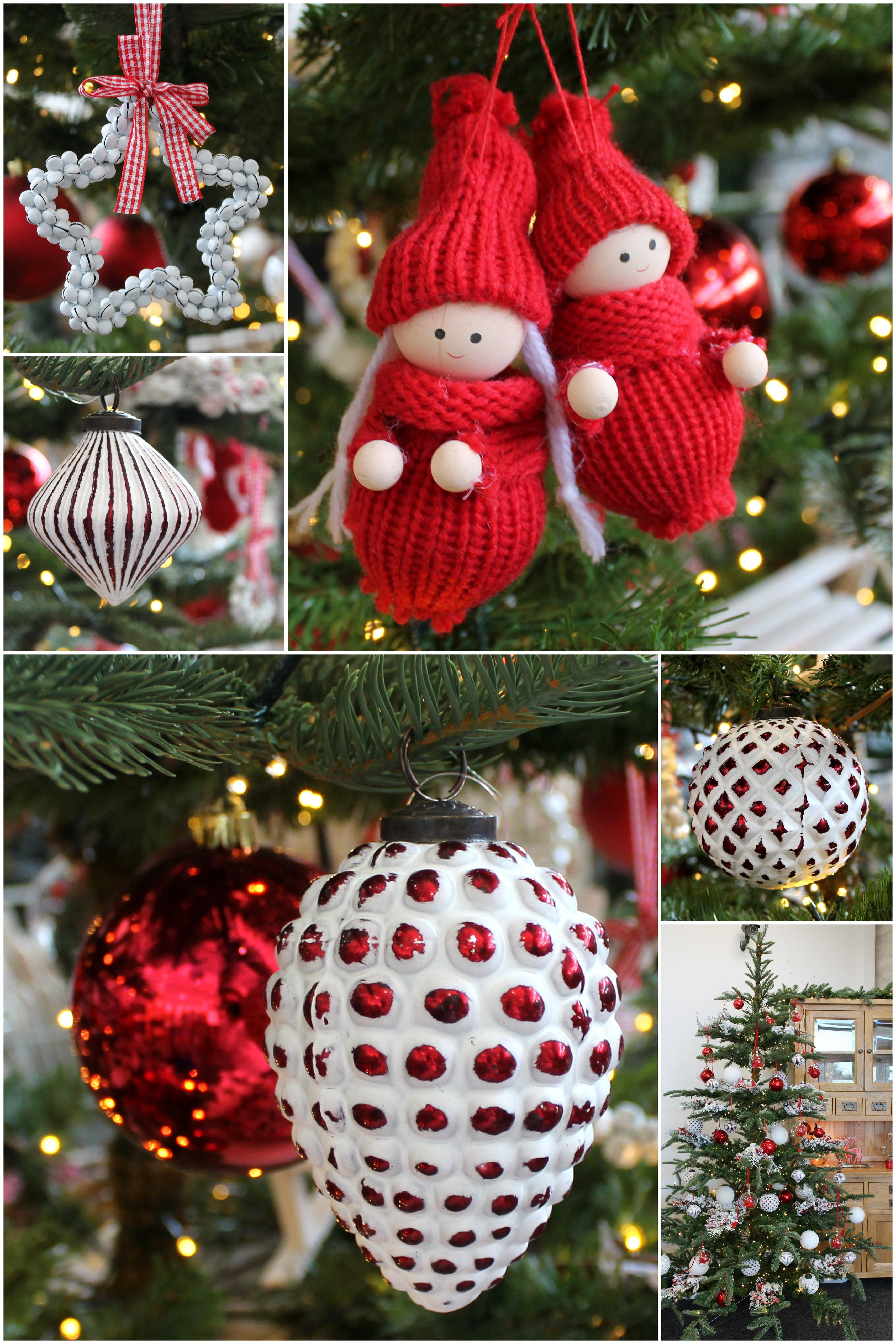 Red & White Christmas Decorations on a Natural Green Artificial tree (With images ...