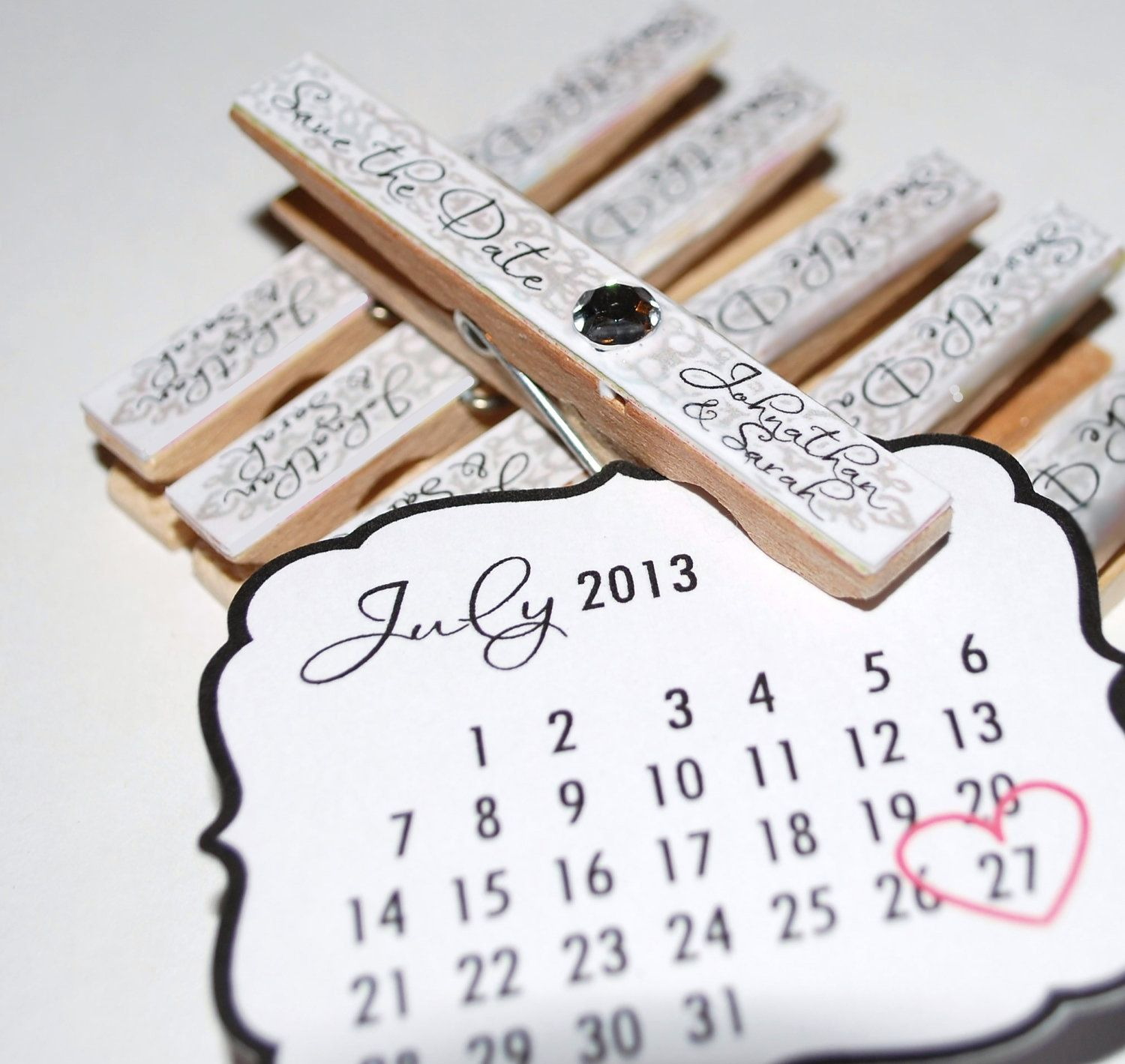 Wedding Save The Date Personalized Magnet Clothespin Etsy More