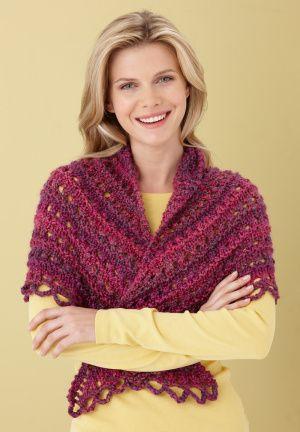 Free Knitting Pattern L0363b Splendid Triangle Shawl Lion Brand
