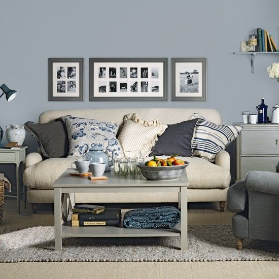 blue gray livingroom | Blue grey living room | living room decorating ideas  | Ideal Home