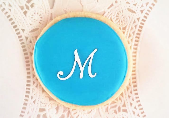 Monogram Wedding Favor Sugar Cookie. Custom colors available. SweetAsAlways.etsy.com