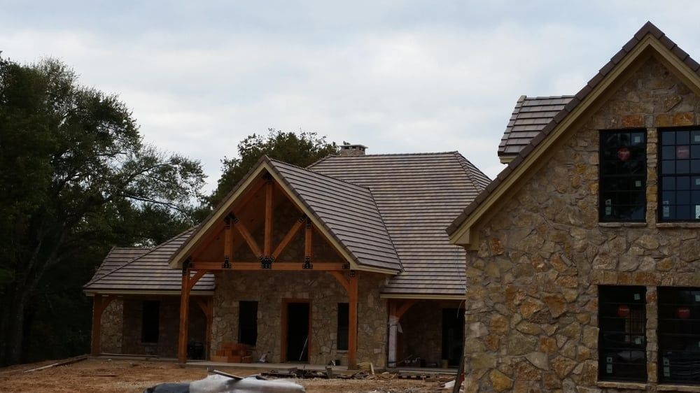 Photo Of Quality Roofing Corinth Tx United States New Construction Boral Slate Tile On 12 12 And 8 12 Pitch Roof With Bea Roofing House Styles Tree House