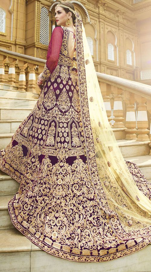 Purple Velvet And Net Indian Bridal Gown With Dupatta