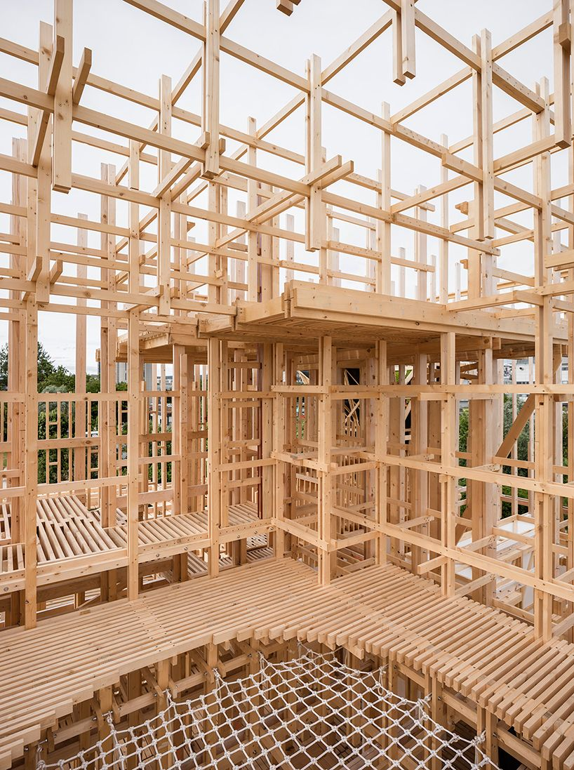 Alice Collaboratively Builds Balloon Frame Timber House In Lausanne Wooden Pavilion Timber Architecture Tectonic Architecture