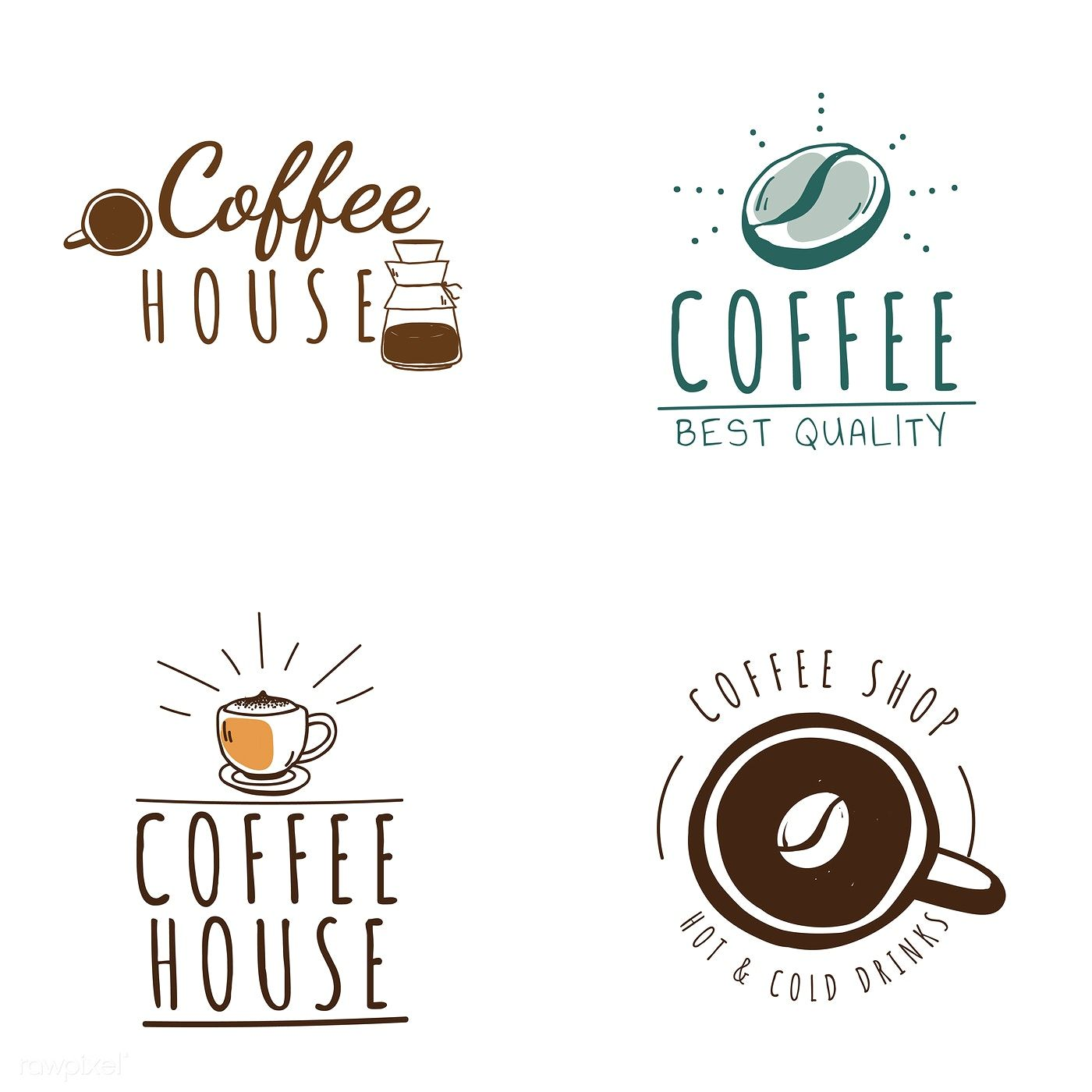 Set Of Coffee Shop Logos Vector Free Image By Rawpixel Com Coffee Shop Logo Shop Logo Coffee Shop
