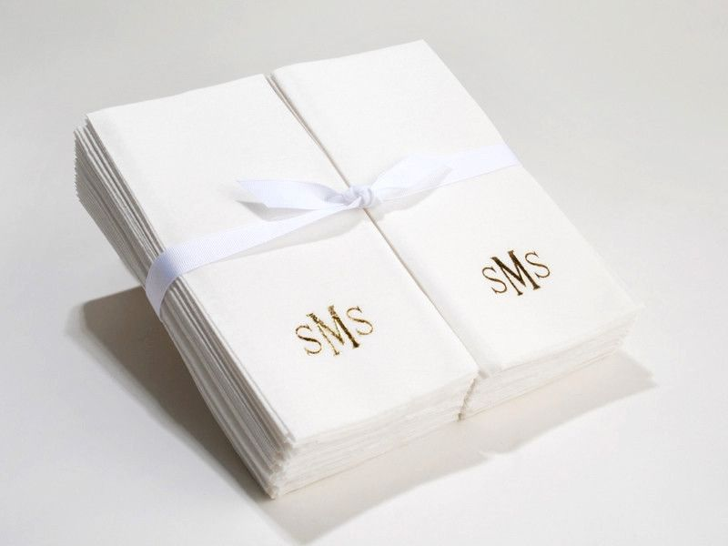 Delightful Personalized Linen Like (paper) Disposable Guest Hand Towels With A Ribbon    100 Bulk