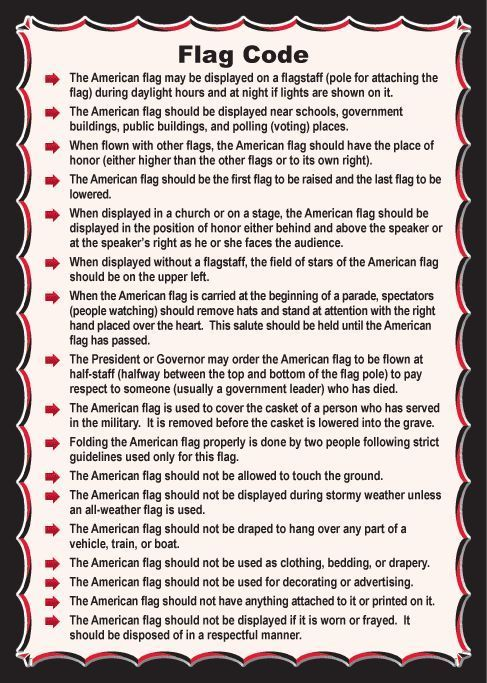 Rules Of The American Flag American History Timeline Flag Code Flag Etiquette