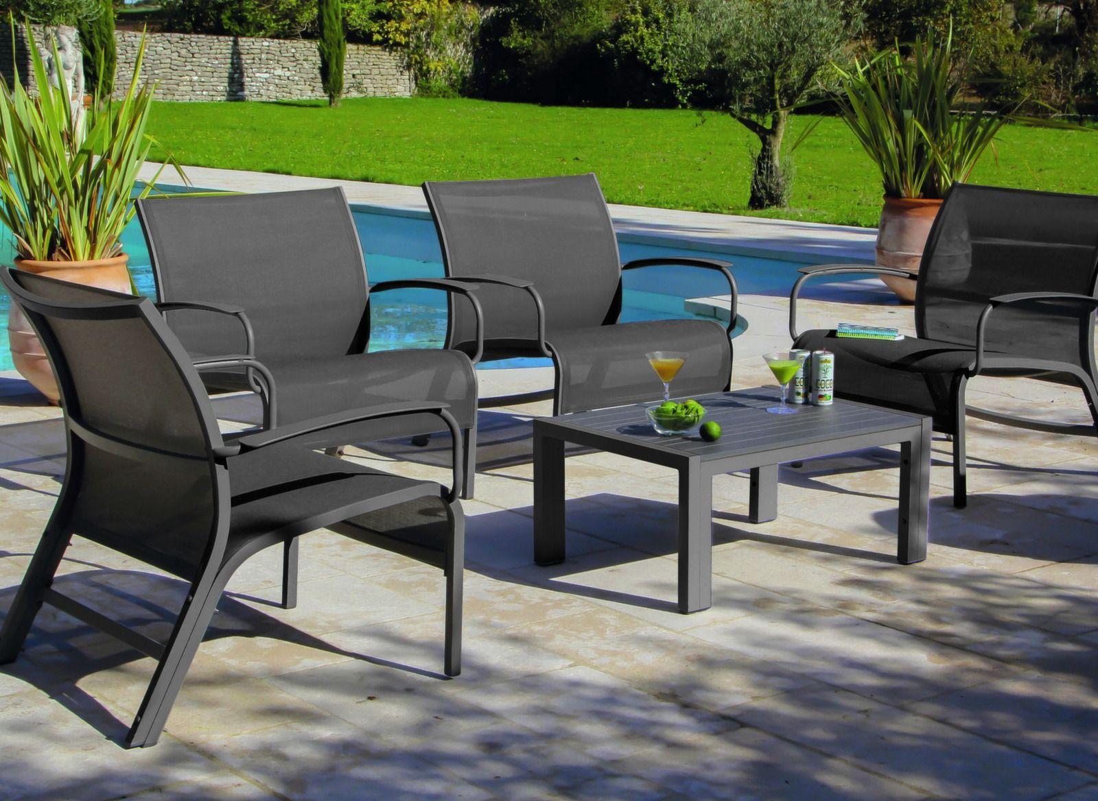 Salon lounge aluminium et textilène Linea – Proloisirs | Mobilier ...
